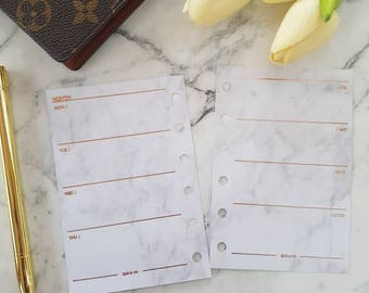 Pocket Small Marble/ROSE GOLD foil Week on two pages (WO2P) planner inserts paper | Refills for Kikki k, Filofax, Louis Vuitton PM agenda