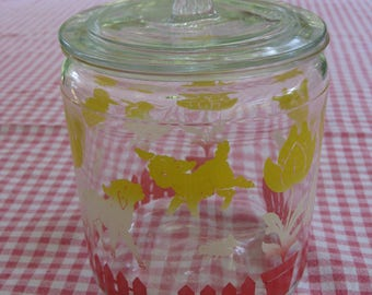 Glass Jar, Vintage Covered Glass Jar, Ducks and Bunnies Decals, Bathroom Storage, Nurshery, Kitchen Storage, Small Cookie Jar