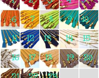 12 inch gold teeth zippers, Choose 25 YKK metal zippers, brown, grey, camel, mustard, neutral, navy, blue, teal, red, pink, wine, orange