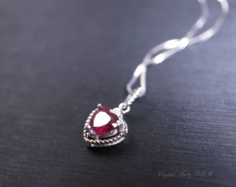 Mini Ruby Heart Necklace, Full Sterling Silver Ruby Necklace, Dainty Ruby Jewelry