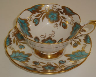 Royal Stafford Blue Florals with Heavy Gold Cup and Saucer