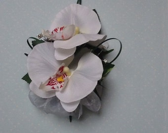Prom/wedding  White Phalaenopsis Double Orchid  buttonhole corsage