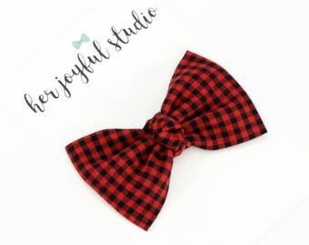Red Christmas Bow - Baby Headbands - Fabric Bow Headband, Nylon Headband - Baby Bow Headband - Baby bows, Baby - Christmas Hair Bow