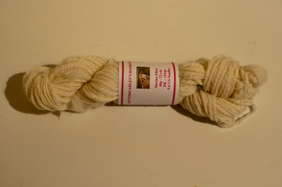 Cream Merino Handspun Yarn 48g/72yds