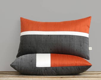 Persimmon Silk Horizon Line Pillow Cover with Cream and Charcoal Gray Stripes by JillianReneDecor, Luxury Gift for Her, Orange Lumbar Pillow