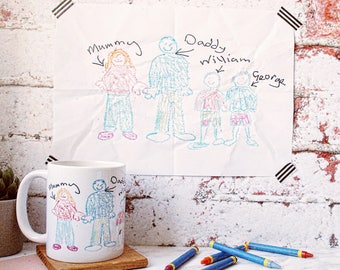 Children's Drawing Mug - Personalised Mums Mug - Gift for Mum - Gift for Dad - Gift for Grandparents - Sentimental Gift - Personalized