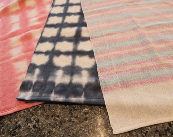 Handwoven Hand Dyed Tea Towel | Dish Towel | Gift for Mom | Housewarming Gift | Sold as Each