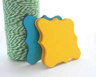 32 Square Bracket cards, (2.5 inches), Textured Cardstock, squared bracket cards, canary yellow and turquoise or choose your colors,  A548