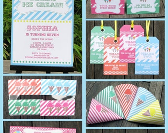 Ice Cream Party Invitations & Decorations - full Printable Package - INSTANT DOWNLOAD with EDITABLE text - you personalize at home