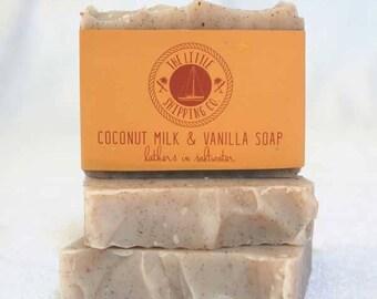 Vanilla Bean & Coconut Milk Soap 130g Handcrafted from 100% Coconut Oil
