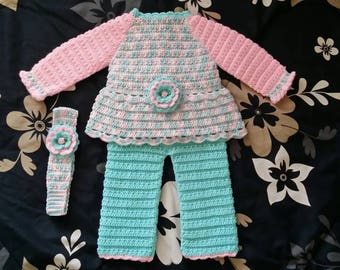 Colourful Flower Sweater & Pants Set with Matching Head Band