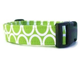 Lime Green Dog Collar - Circles on Lime
