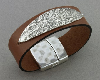 """Artisan Made Fine Silver, 3/4 inch Leather Band, Magnetic Clasp, Custom Size - """"Sage Leaf"""" by Carol Ann Bosek"""