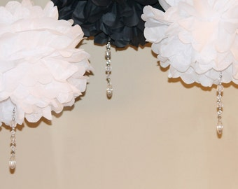 Black and White Crystal drop poms  SET OF THREE baby shower first birthday party decoration Winter Wonderland ONEderland Tiffany icicle