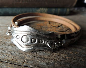Handmade Silver Link, Patterned Leather Bracelet, Artisan Jewelry, Leather Wrap Bracelet, Rustic Handcrafted, Abstract Design, Urban Chic