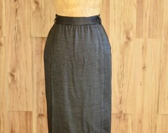 1980s Black & Silver Pinstripe Skirt, Eighties Basile Made in Italy Pencil Skirt, Black Wool Side Button Skirt, Vintage Designer Skirt