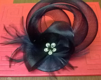 Navy and silver fascinator