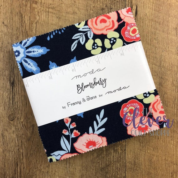 Charm Pack Squares, Moda, Bloomsbury, Floral, Spring, Navy, Salmon, Pink, Cream, Small Print, Quilting Fabric, Precut, Squares, Roses, Tulip