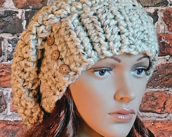 Crochet Pattern, Super Bulky Yarn, Instant Download, Buttoned Hatband, Women's, Teens, Slouchy Hat, Accessories