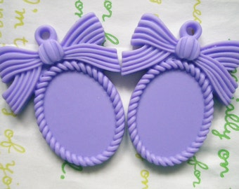 SALE MATTE Bow cameo setting frame 2pcs Purple Fits 25mm x 18mm cameo