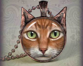 OW13 Orange Tabby Cat Pendant