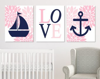 NAUTICAL Nursery Decor, Nautical Nursery Prints Or Canvas, Nautical Nursery Wall Art, Pink Navy Nursery, Floral Nursery Pictures, Set of 3