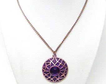 Round Copper Pendant w/Large Purple Rhinestone Necklace