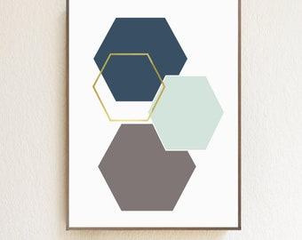 """ALL NEW! Geometric Hexagon Shapes 12""""x16"""" Wood Sign   Home Decor   Office Decor   Wall Art   Kid's Rooms"""