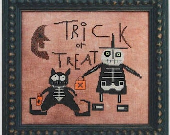 OOP Trick or Treat cross stitch pattern by Prairie Moon at thecottageneedle.com Halloween October embroidery