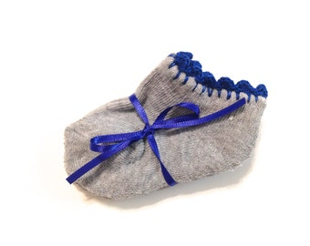 Infant Girl Socks With Royal Blue Crocheted Shell Stitch-Size 0-6 Months
