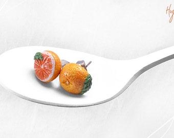 Sterling Silver Grapefruit Earrings, Citrus Fruit Studs, Grapefruit Post Earrings, Faux Food studs, Fruit Earrings, Foodie gift,Orange