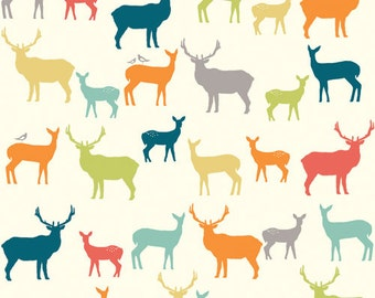 Sale Birch Fabrics ELK FAMILY Multi, Woodland Deer Silhouettes - ORGANIC Woven (Not Knit) Cotton Quilt Fabric - by the Yard