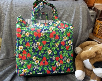 Cotton Shopping Tote Bag, Strawberry Fields Print