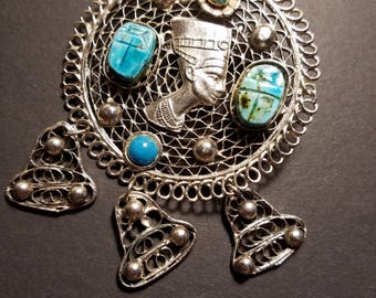Vintage Cleopatra silver turquoise brooch or pendant on silver chain