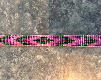 Green, Pink & Purple, Loom Beaded Bracelet, Native American Pattern, Glass Seed Beads