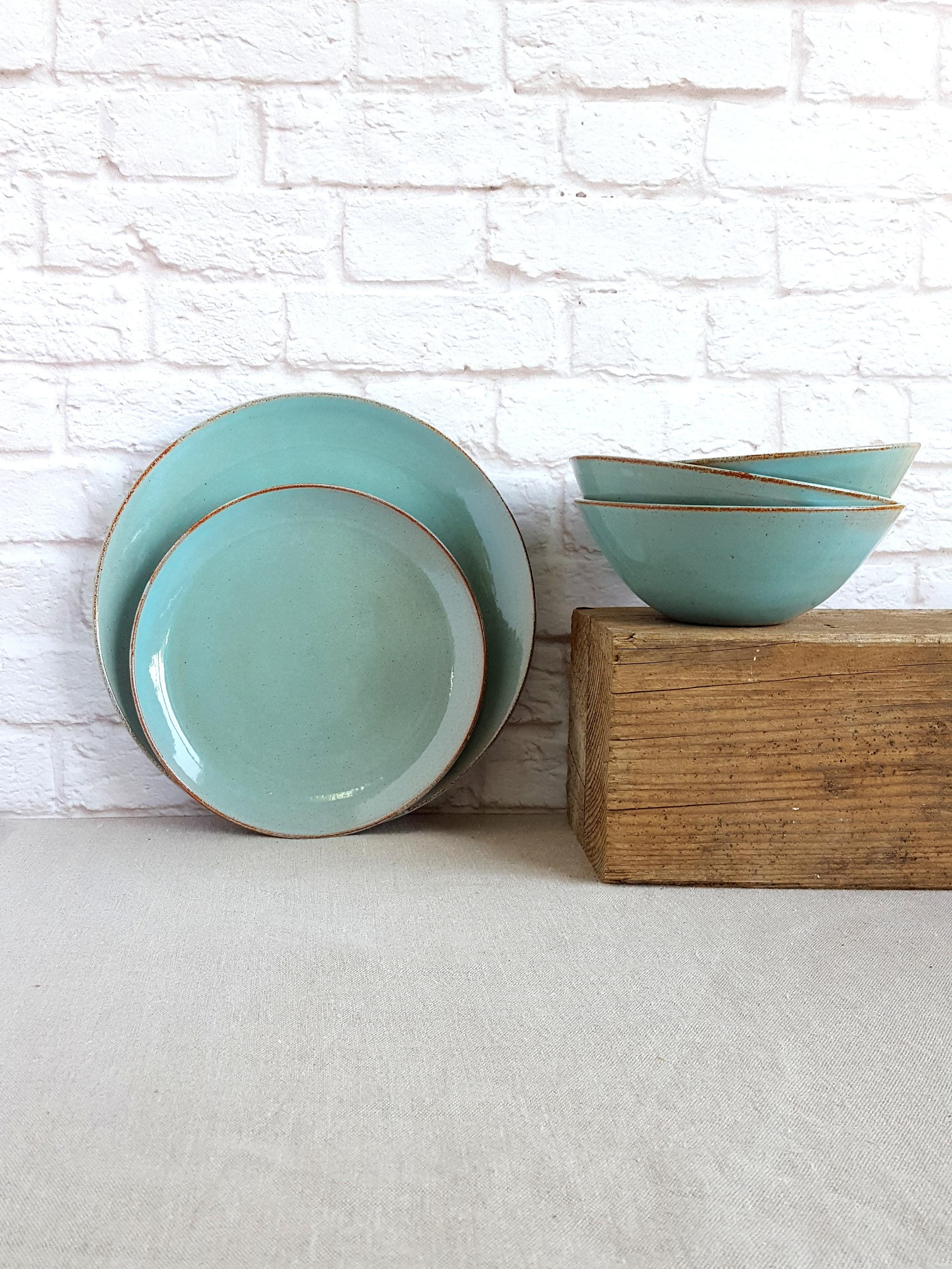 light blue dinnerware set stoneware dinnerware wedding gift