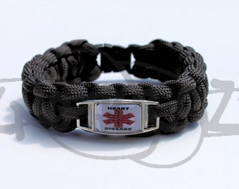 Heart Disease Medical Alert ID ALLOY Charm on 550 Paracord Survival Strap Bracelet with Plastic Contoured Side Release Buckle