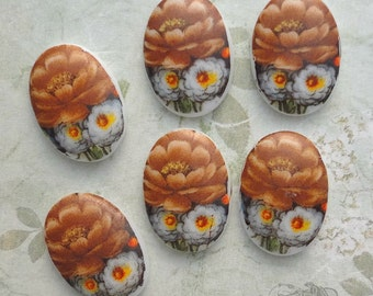 Vintage Class Cabochons  13x18 mm Decal Cabs Autumn Mums Florals (choose 2 pc or 4 pc)