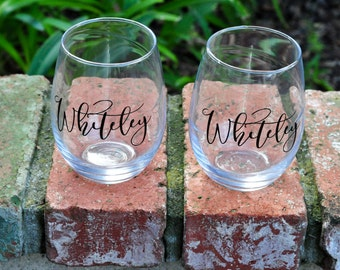 Personalized Set of Stemless Wine Glasses | Last Name, Monogram or Custom wording |