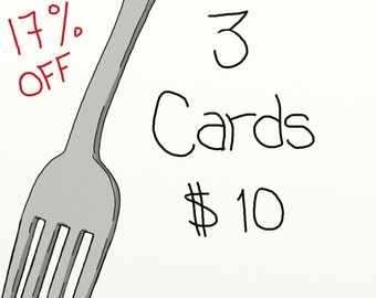 3 Cards for 10, humorous greeting cards, birthday cards, invites