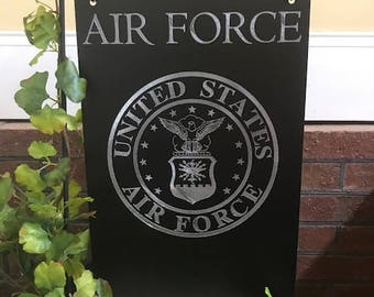 Air Force Personalized Engraved Garden Flag/Sign
