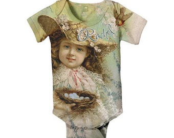Baby Girl Bodysuit, Personalized Vintage Girl with Bird Nest, Infant Snapsuit,