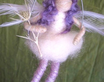 Winter Fairy, Waldorf Doll, Winter Nature Table, White, Purple, Feather wings, silver branch, Original design by Borbala Arvai