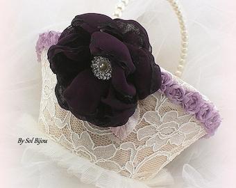 Flower Girl Basket, Ivory, Champagne, Blush, Lilac, Purple, Plum, Wedding, Lace, Crystals, Pearls, Vintage Style, Elegant