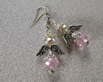 """Earrings """"Angels"""" 10 mm pink and clear faceted glass bead"""