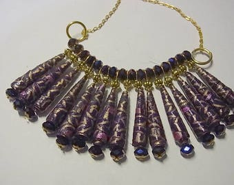 Statement necklace with Purple paper bead swarovski crystals