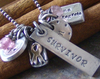 Eclectic HOPE.... hand stamped sterling and fine silver breast cancer necklace