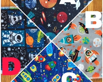 Burp Cloths with Space and Rocket Themes