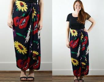 1990s Floral Wrap Maxi Skirt