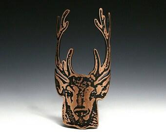 Stag - bicycle accessories, bike badge, bicycle badge, head badge, bike art, deer head, antlers, etched copper, etched metal, stag head